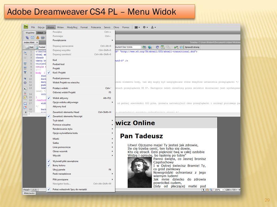 Adobe Dreamweaver CS4 PL – Menu Widok