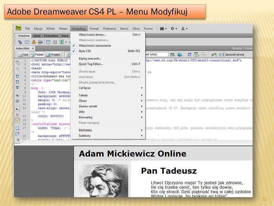 Adobe Dreamweaver CS4 PL – Menu Modyfikuj