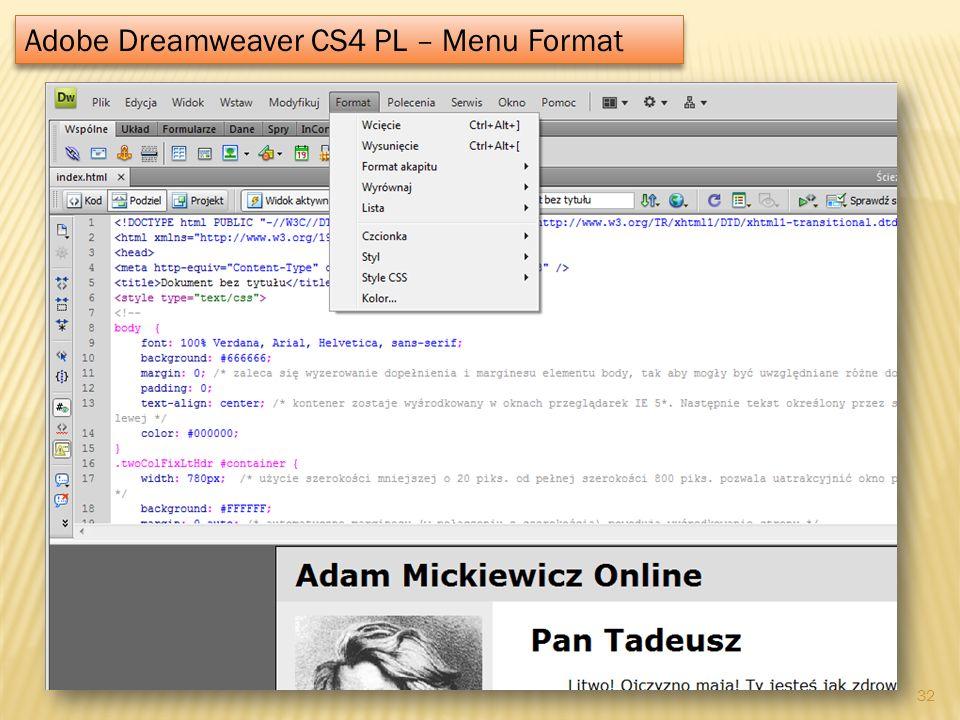 Adobe Dreamweaver CS4 PL – Menu Format