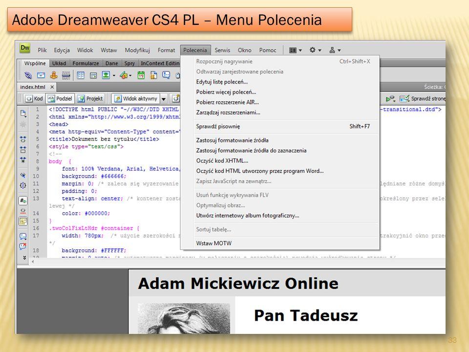 Adobe Dreamweaver CS4 PL – Menu Polecenia