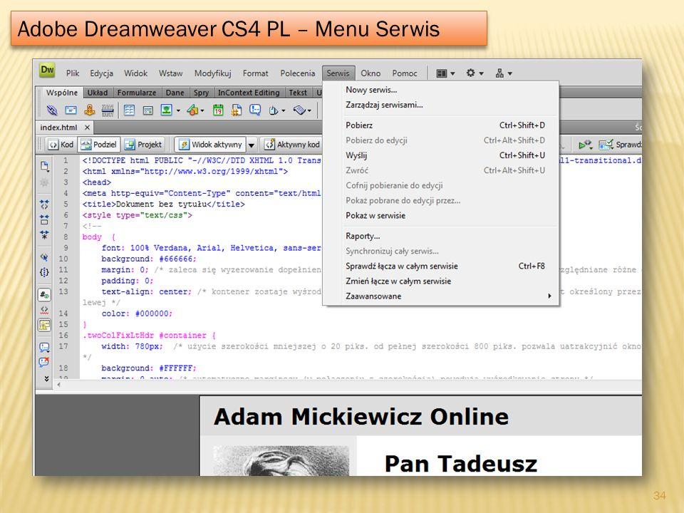 Adobe Dreamweaver CS4 PL – Menu Serwis