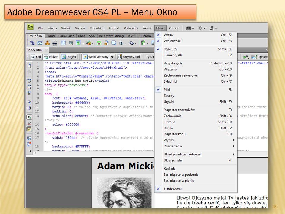 Adobe Dreamweaver CS4 PL – Menu Okno