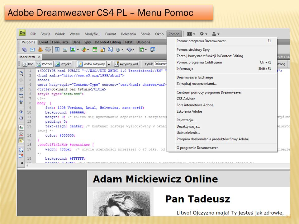 Adobe Dreamweaver CS4 PL – Menu Pomoc