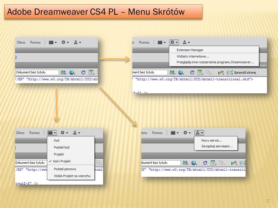 Adobe Dreamweaver CS4 PL – Menu Skrótów