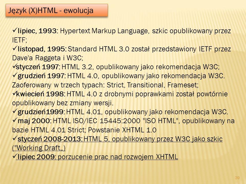 Język (X)HTML - ewolucja