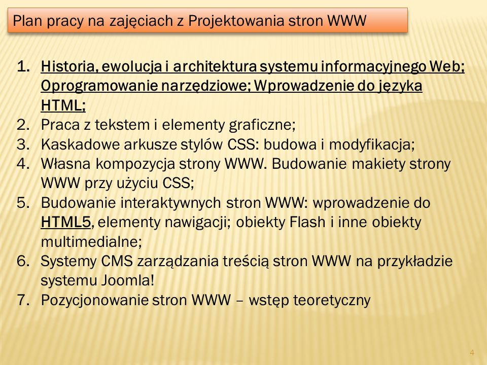 Plan pracy na zajęciach z Projektowania stron WWW
