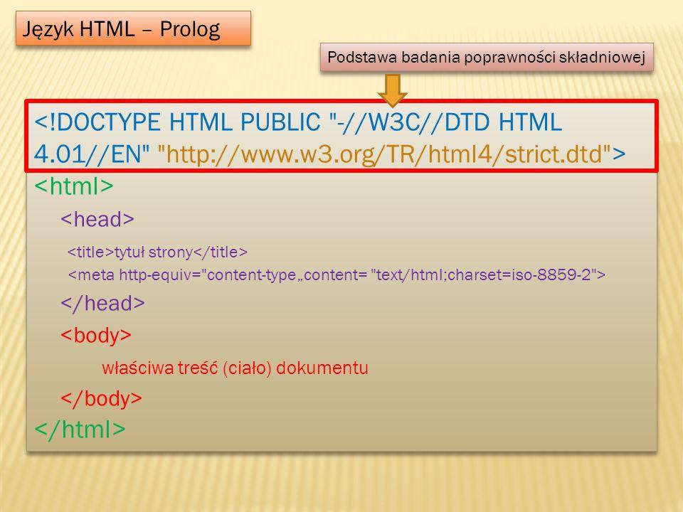 Język HTML – Prolog Podstawa badania poprawności składniowej.