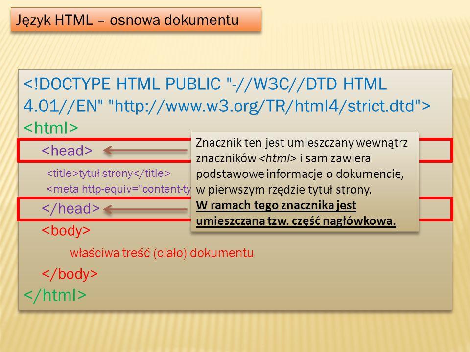 Język HTML – osnowa dokumentu