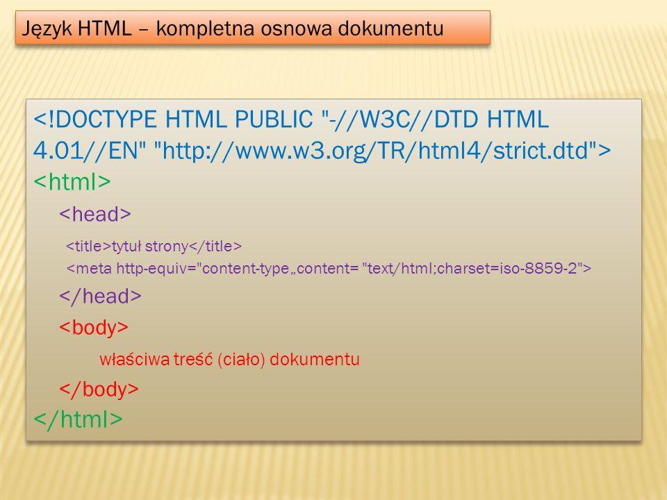 Język HTML – kompletna osnowa dokumentu