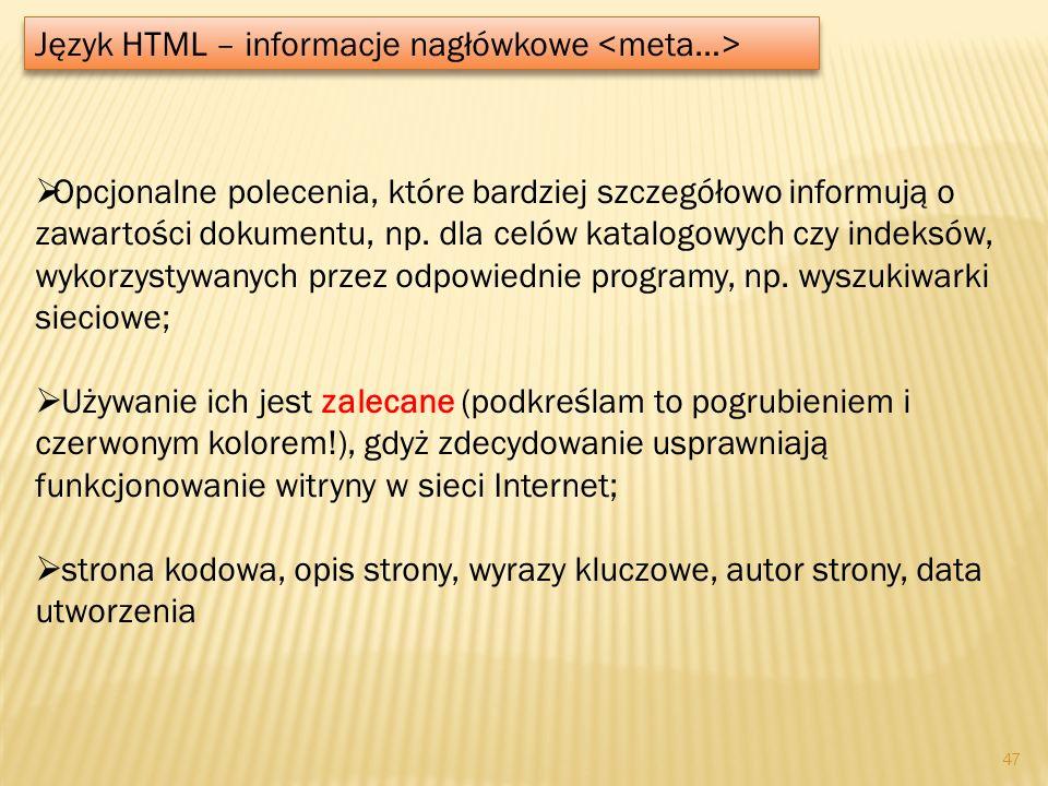 Język HTML – informacje nagłówkowe <meta…>