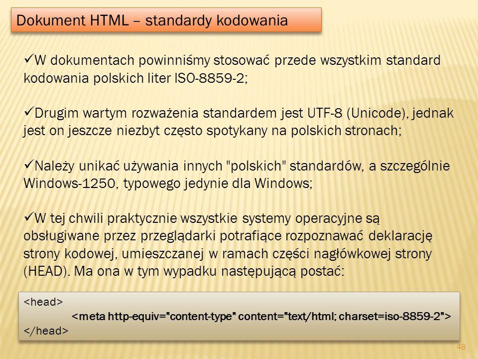 Dokument HTML – standardy kodowania