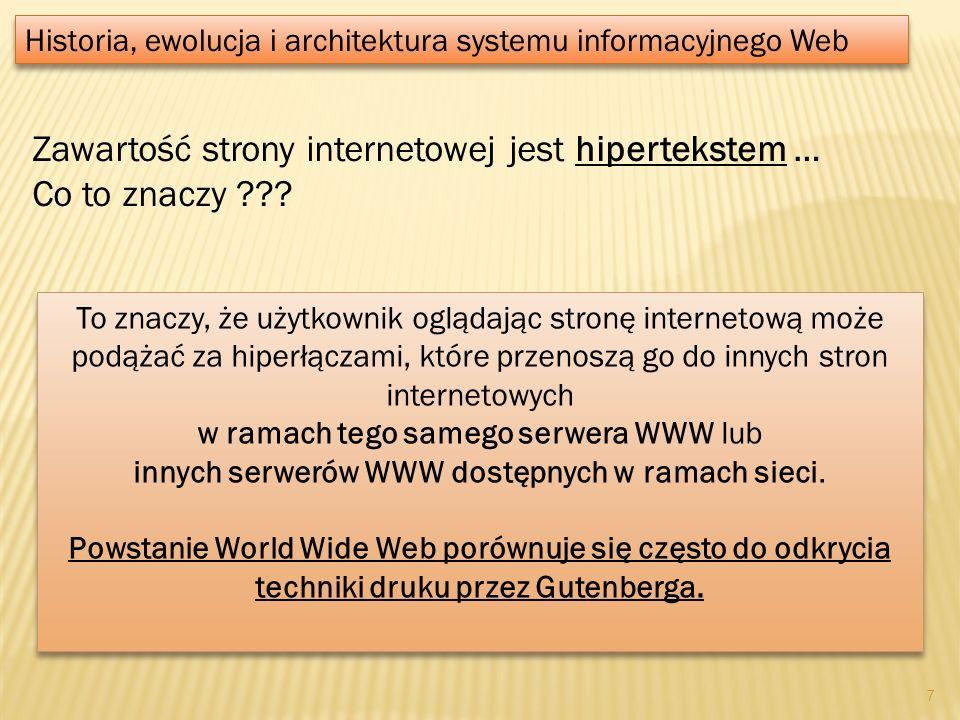 Zawartość strony internetowej jest hipertekstem … Co to znaczy