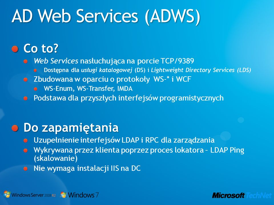 AD Web Services (ADWS) Co to Do zapamiętania