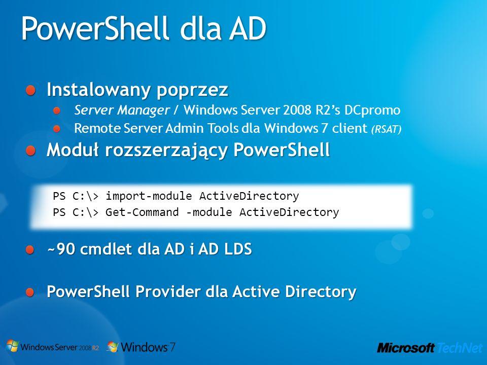 PowerShell dla AD Instalowany poprzez Moduł rozszerzający PowerShell