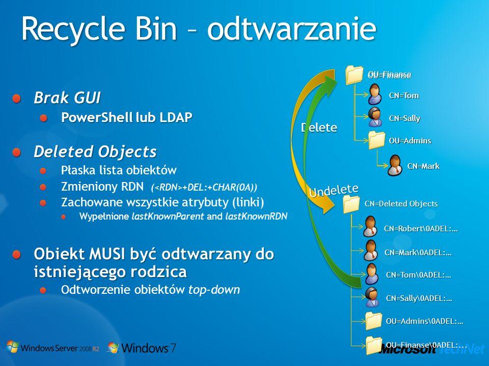 Recycle Bin – odtwarzanie