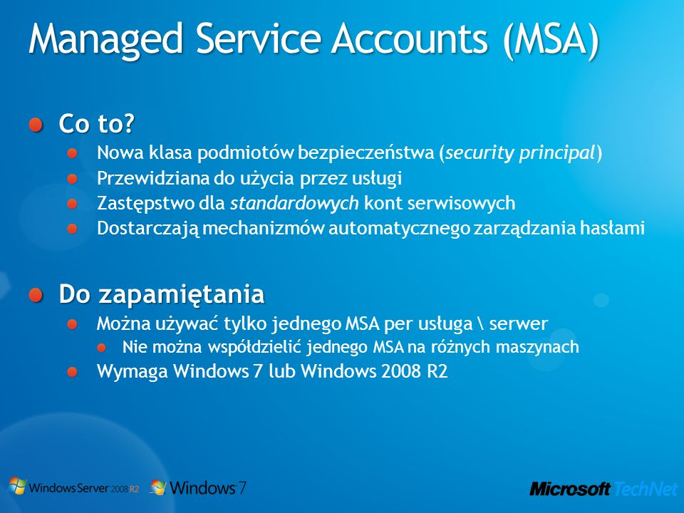 Managed Service Accounts (MSA)