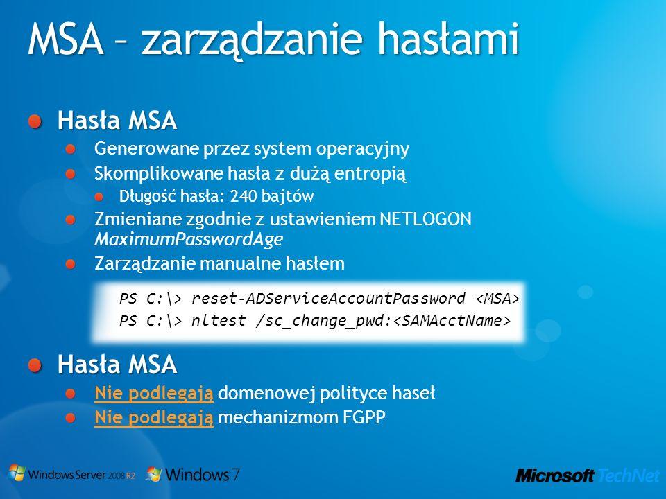 MSA – zarządzanie hasłami