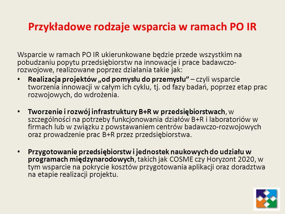 Przykładowe rodzaje wsparcia w ramach PO IR