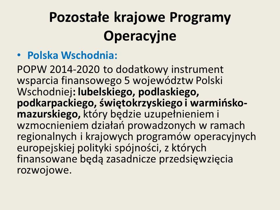 Pozostałe krajowe Programy Operacyjne
