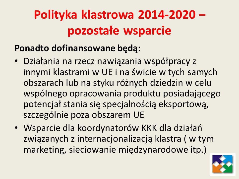 Polityka klastrowa 2014-2020 – pozostałe wsparcie