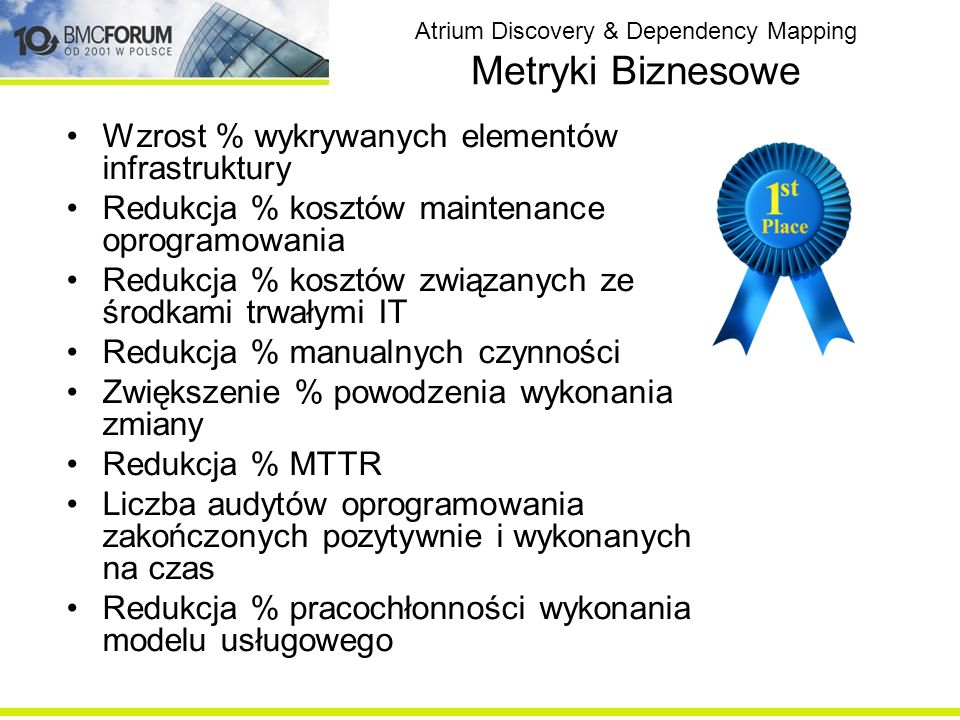 Atrium Discovery & Dependency Mapping Metryki Biznesowe