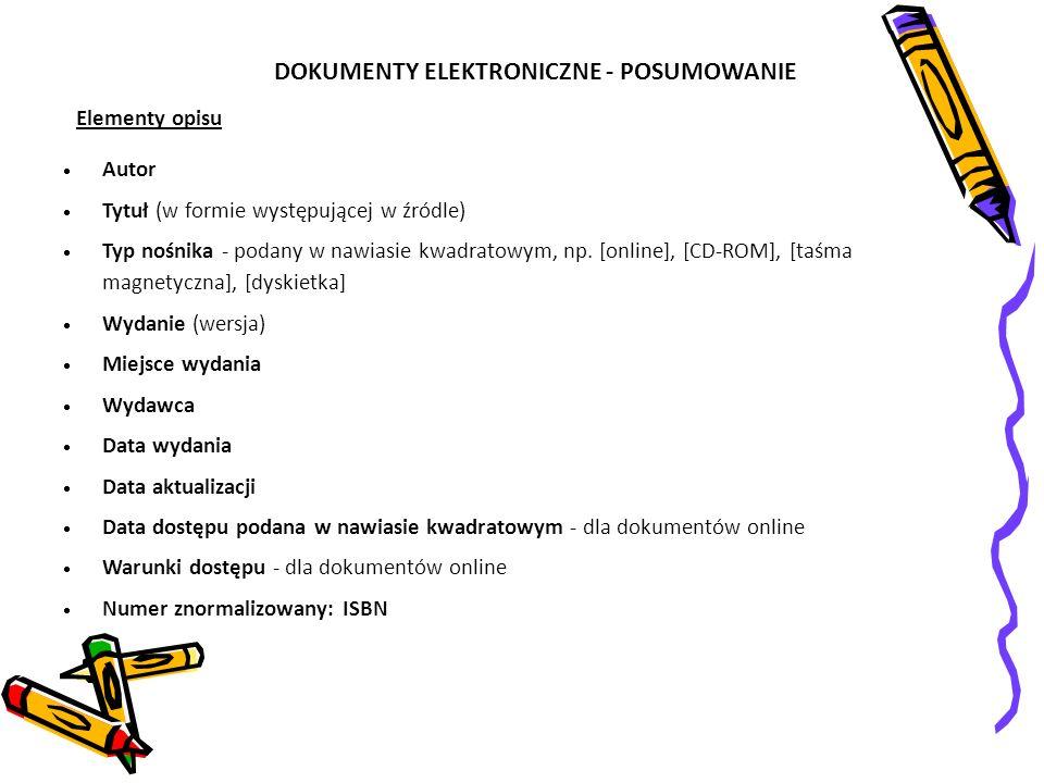 DOKUMENTY ELEKTRONICZNE - POSUMOWANIE