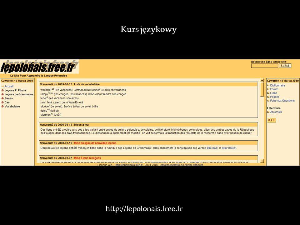 Kurs językowy http://lepolonais.free.fr