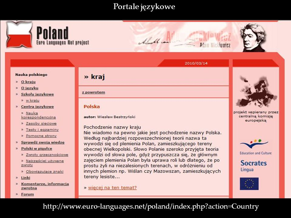 Portale językowe http://www.euro-languages.net/poland/index.php action=Country