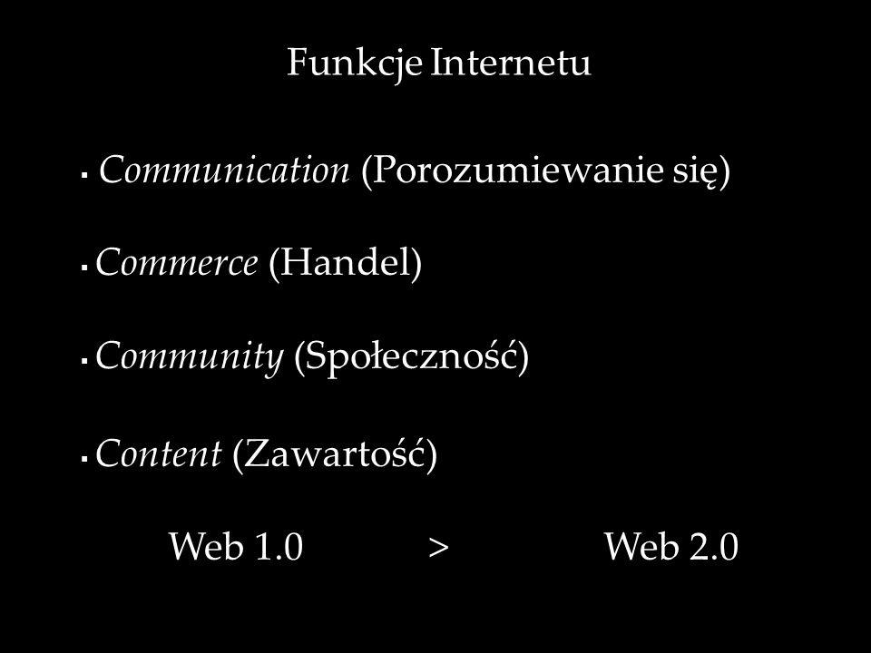 Funkcje Internetu Web 1.0 > Web 2.0