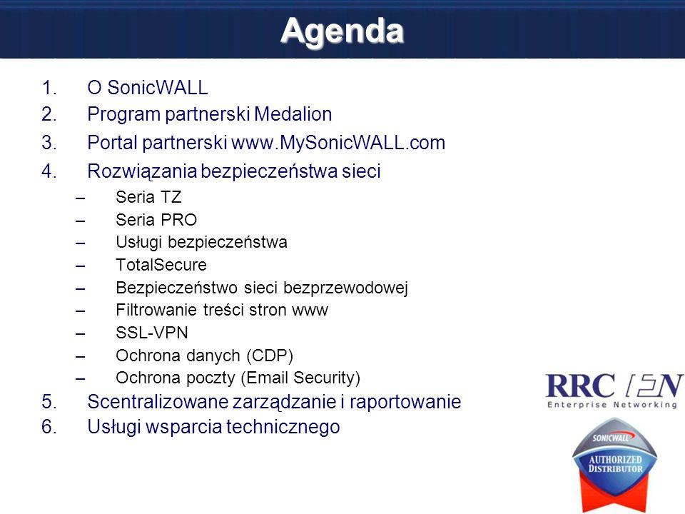 Agenda O SonicWALL Program partnerski Medalion