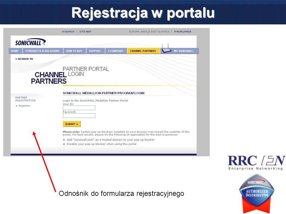 Rejestracja w portalu Odnośnik do formularza rejestracyjnego