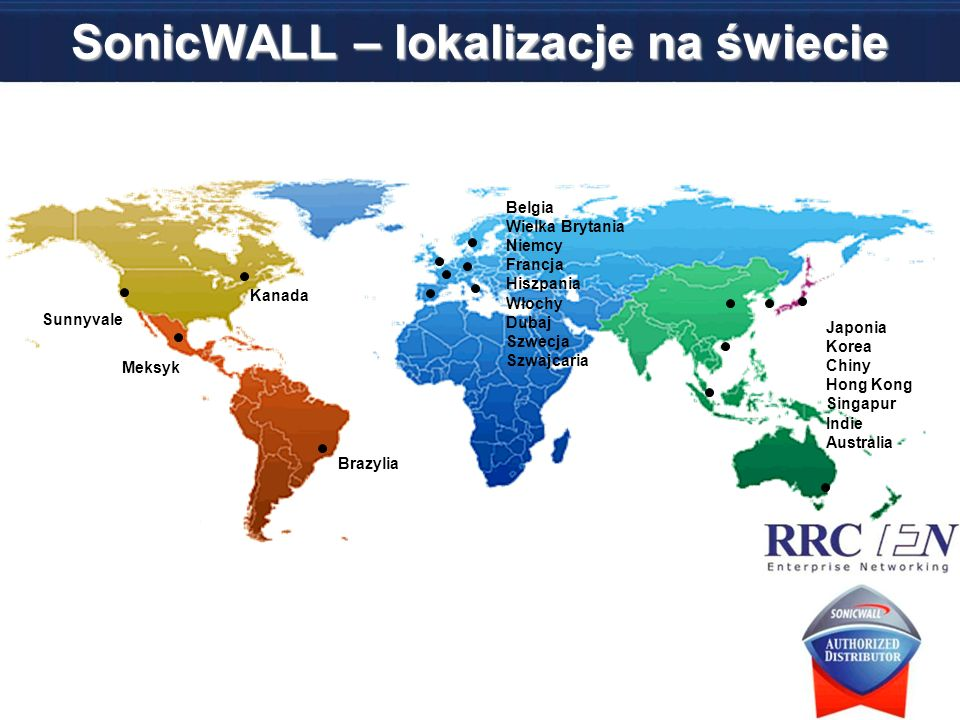 SonicWALL – lokalizacje na świecie