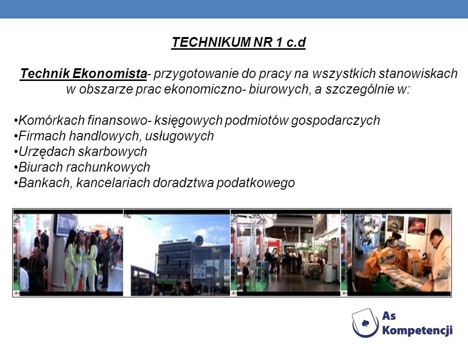 TECHNIKUM NR 1 c.d Technik Ekonomista- przygotowanie do pracy na wszystkich stanowiskach w obszarze prac ekonomiczno- biurowych, a szczególnie w:
