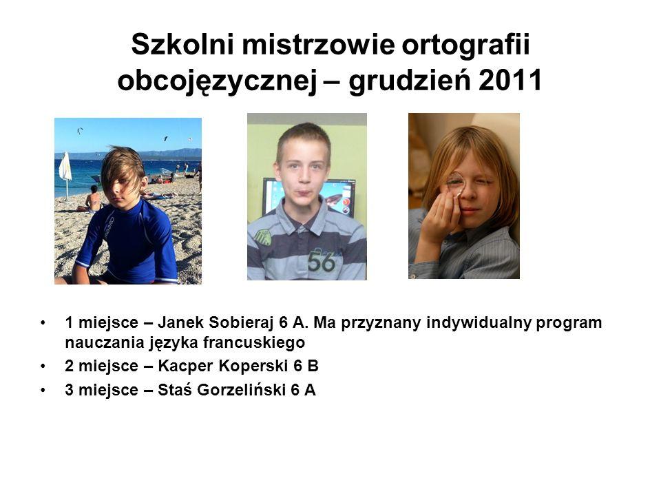 Szkolni mistrzowie ortografii obcojęzycznej – grudzień 2011