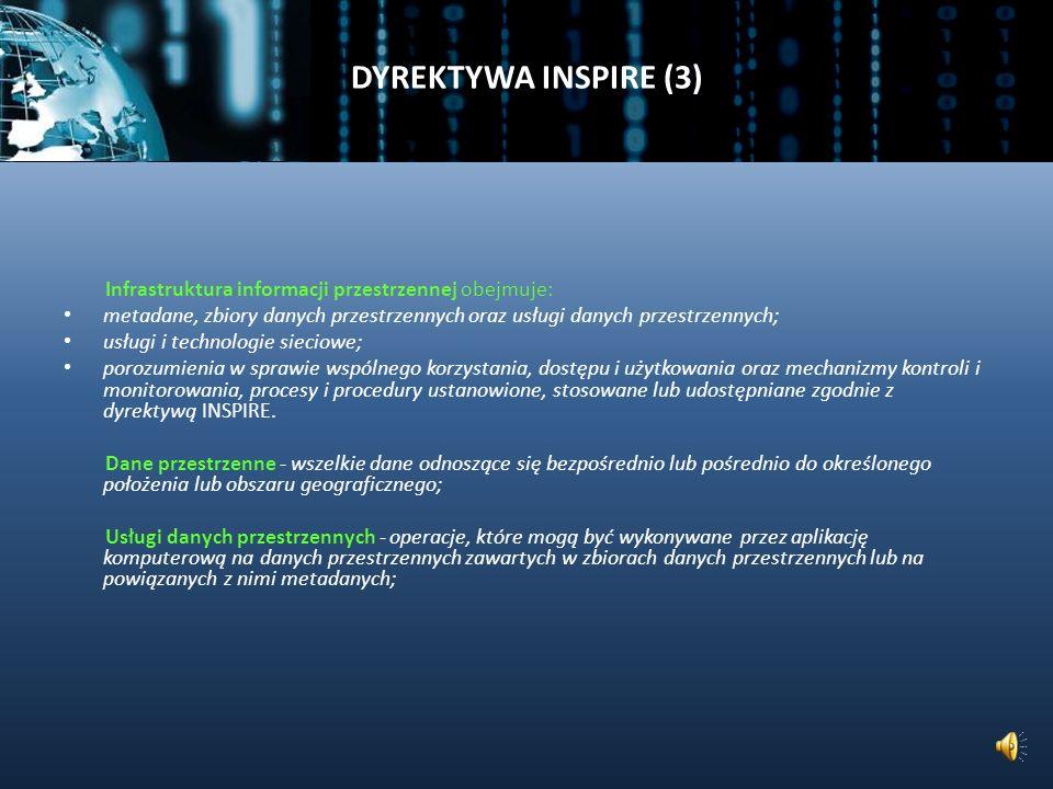 DYREKTYWA INSPIRE (3) Infrastruktura informacji przestrzennej obejmuje: metadane, zbiory danych przestrzennych oraz usługi danych przestrzennych;