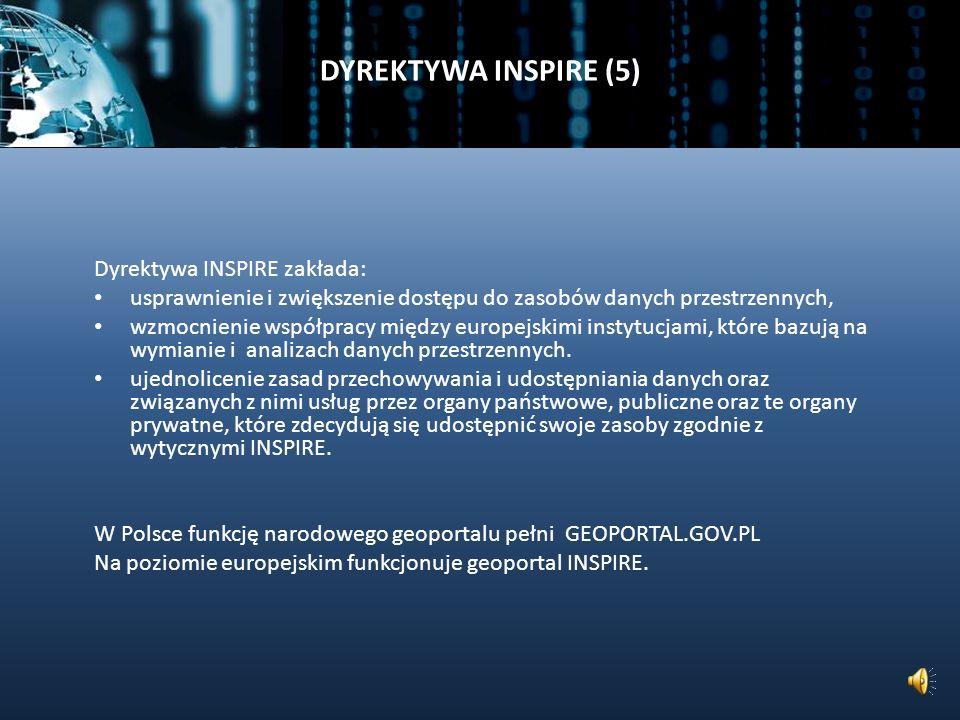 DYREKTYWA INSPIRE (5) Dyrektywa INSPIRE zakłada: