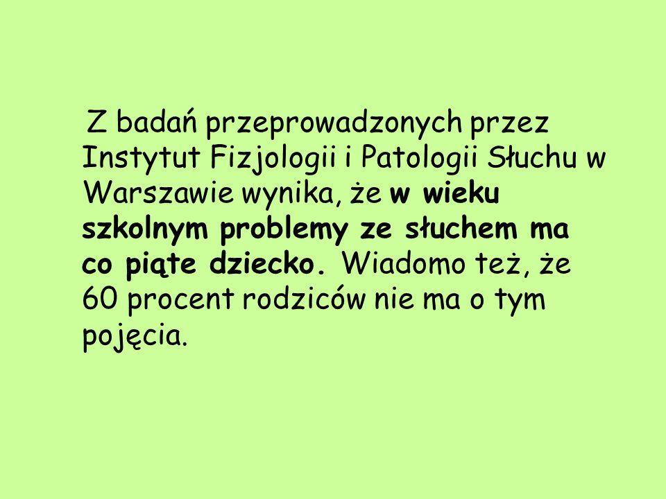 Z badań przeprowadzonych przez Instytut Fizjologii i Patologii Słuchu w Warszawie wynika, że w wieku szkolnym problemy ze słuchem ma co piąte dziecko.