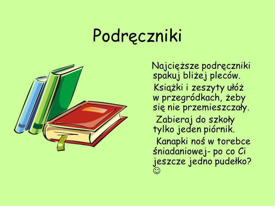 Podręczniki Najcięższe podręczniki spakuj bliżej pleców.