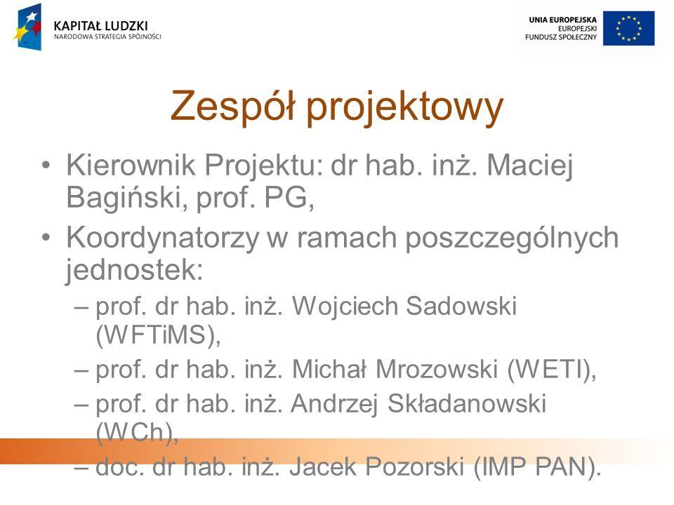 Zespół projektowyKierownik Projektu: dr hab. inż. Maciej Bagiński, prof. PG, Koordynatorzy w ramach poszczególnych jednostek: