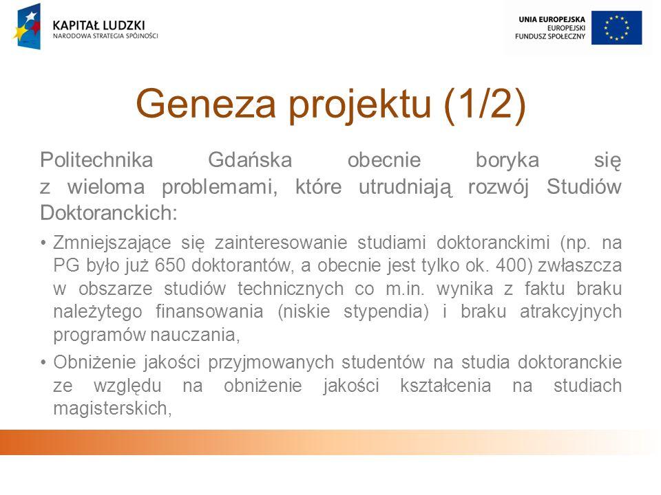 Geneza projektu (1/2)Politechnika Gdańska obecnie boryka się z wieloma problemami, które utrudniają rozwój Studiów Doktoranckich: