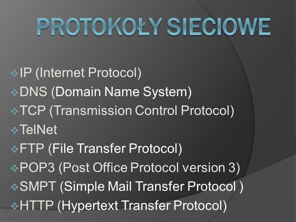 PRotokoły Sieciowe IP (Internet Protocol) DNS (Domain Name System)