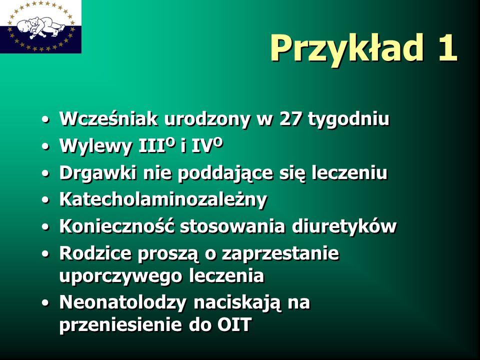Przykład 1 Wcześniak urodzony w 27 tygodniu Wylewy IIIO i IVO