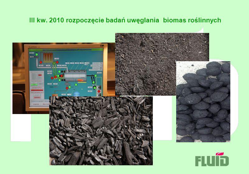 III kw. 2010 rozpoczęcie badań uwęglania biomas roślinnych