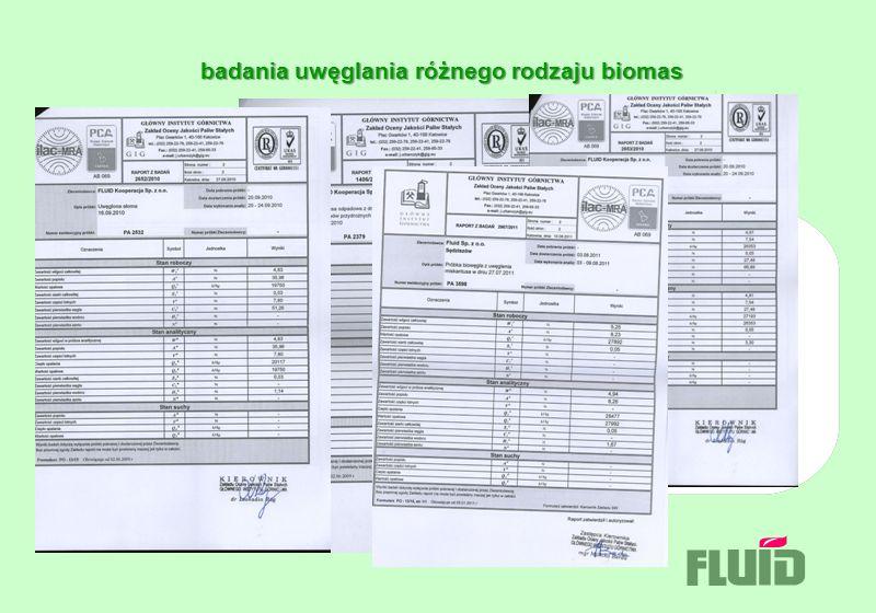 badania uwęglania różnego rodzaju biomas