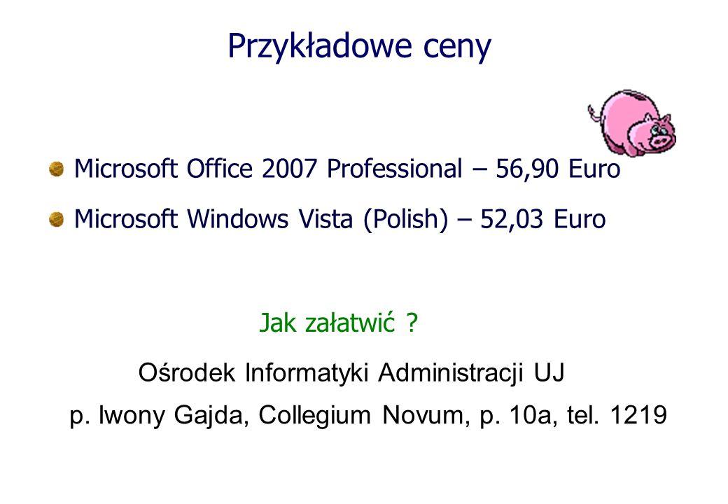 Przykładowe ceny Microsoft Office 2007 Professional – 56,90 Euro