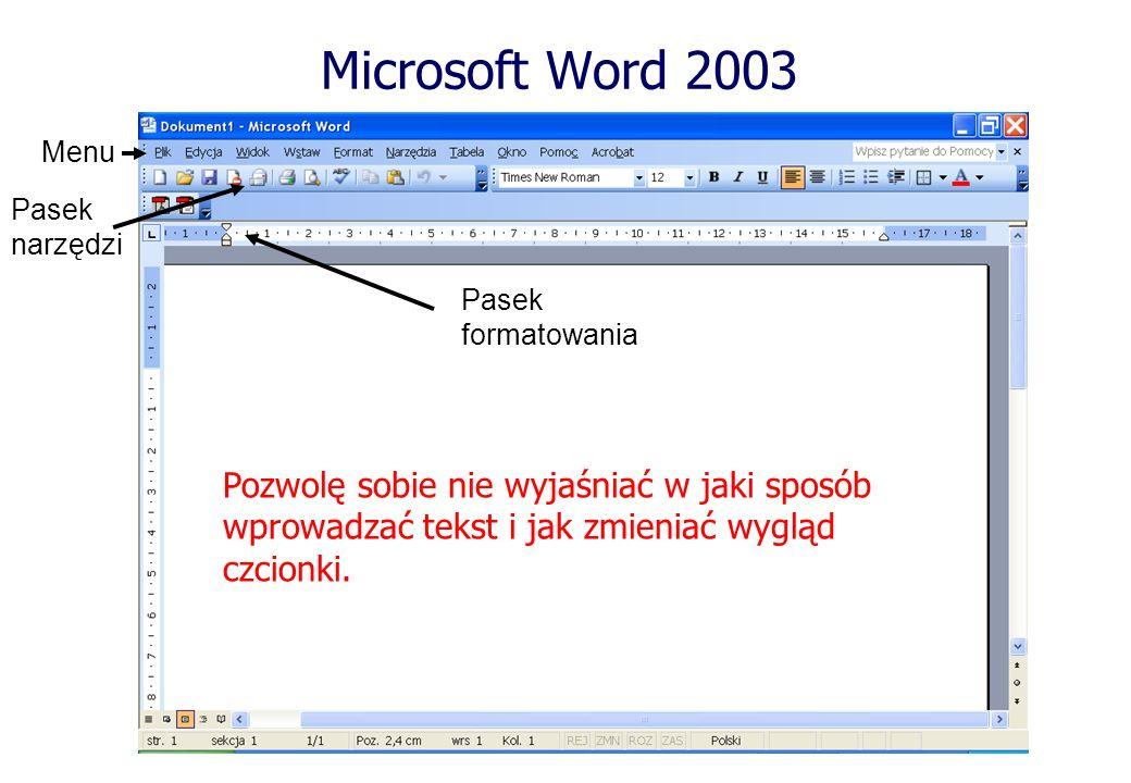 Microsoft Word 2003Menu. Pasek. narzędzi. Pasek. formatowania.