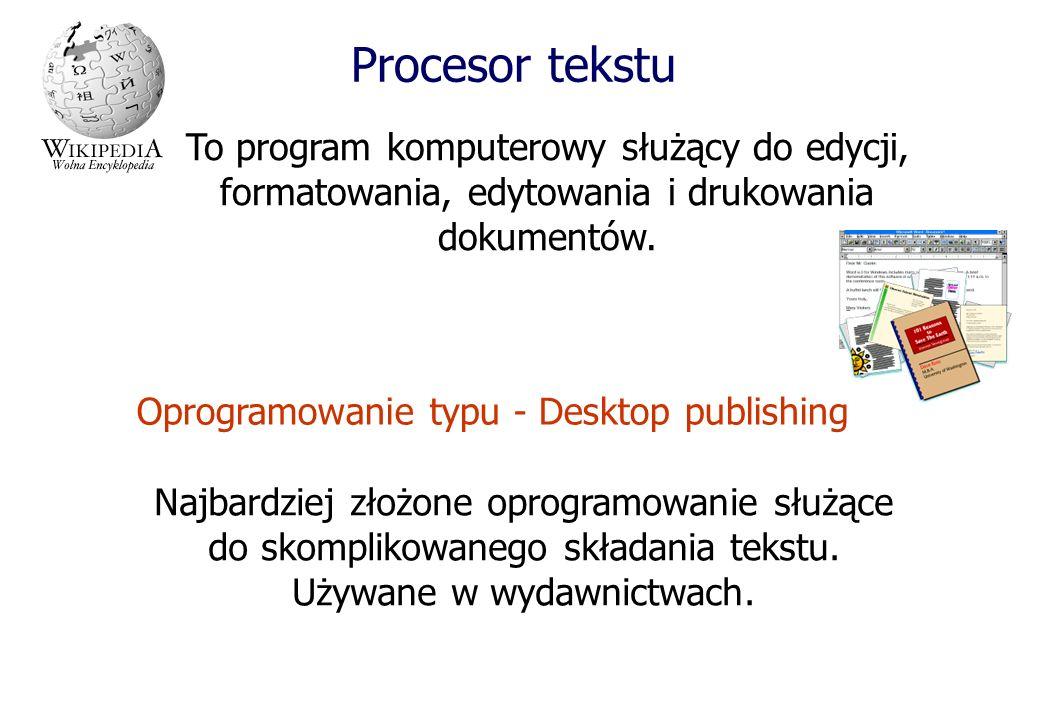 Procesor tekstuTo program komputerowy służący do edycji, formatowania, edytowania i drukowania dokumentów.