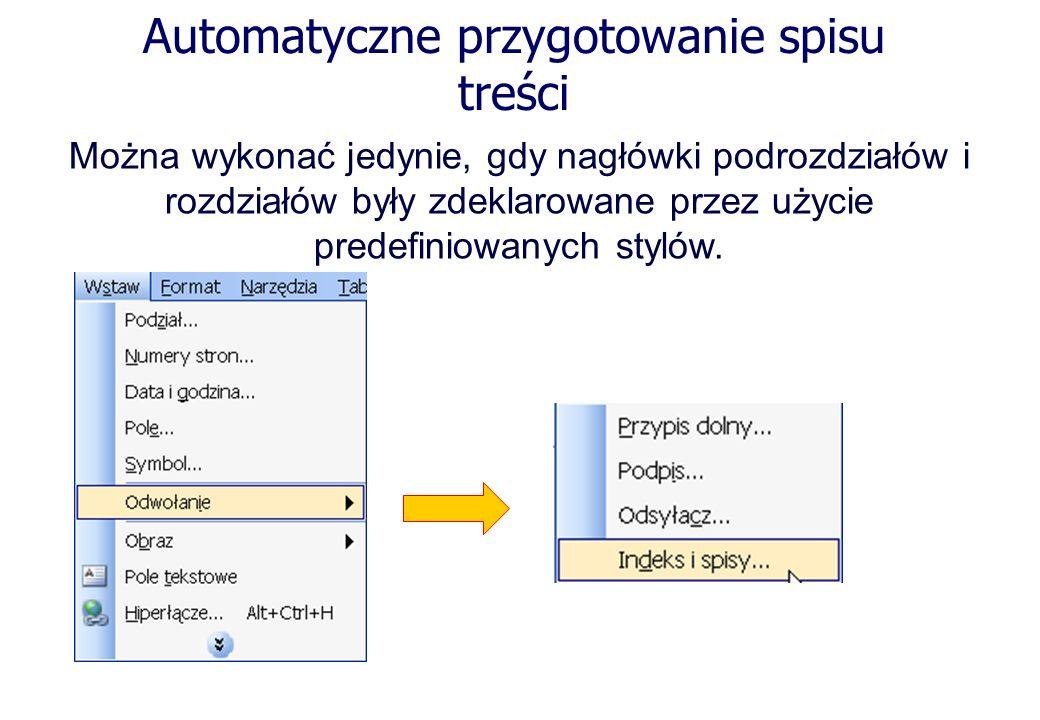 Automatyczne przygotowanie spisu treści