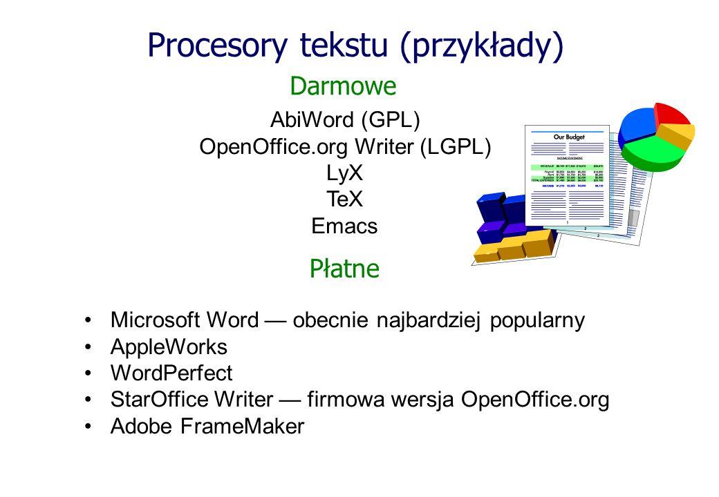 Procesory tekstu (przykłady)
