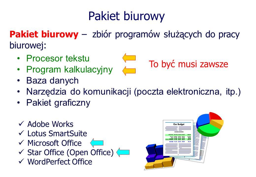 Pakiet biurowyPakiet biurowy – zbiór programów służących do pracy biurowej: Procesor tekstu. Program kalkulacyjny.
